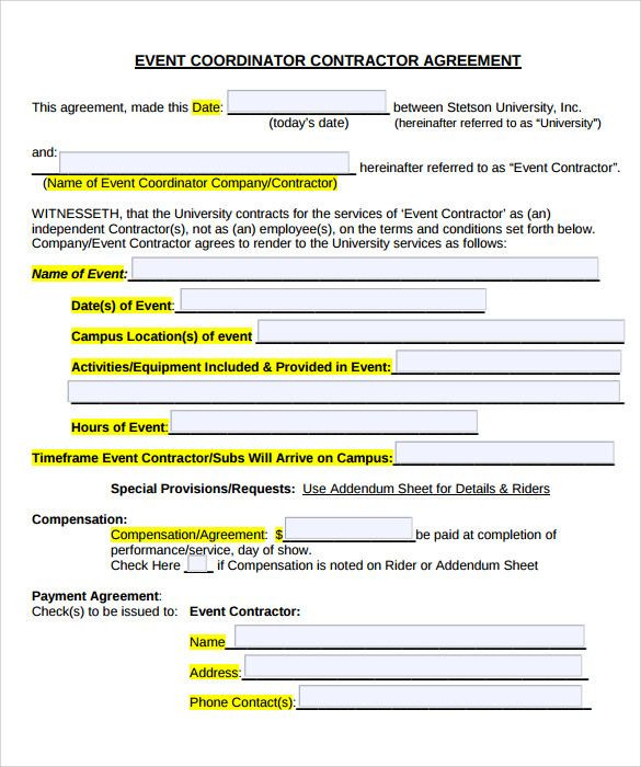 Party Planner Contract Template event Planner Contract
