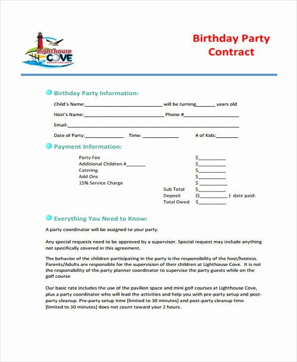 Party Planner Contract Template Party Planner Contract Template Luxury 5 Planner Contract