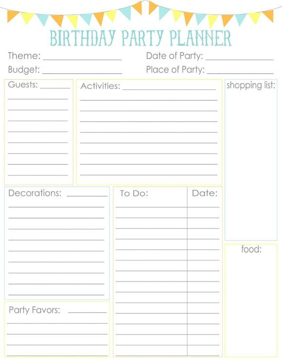 Party Planner Template Pin On Lists Planners Printables