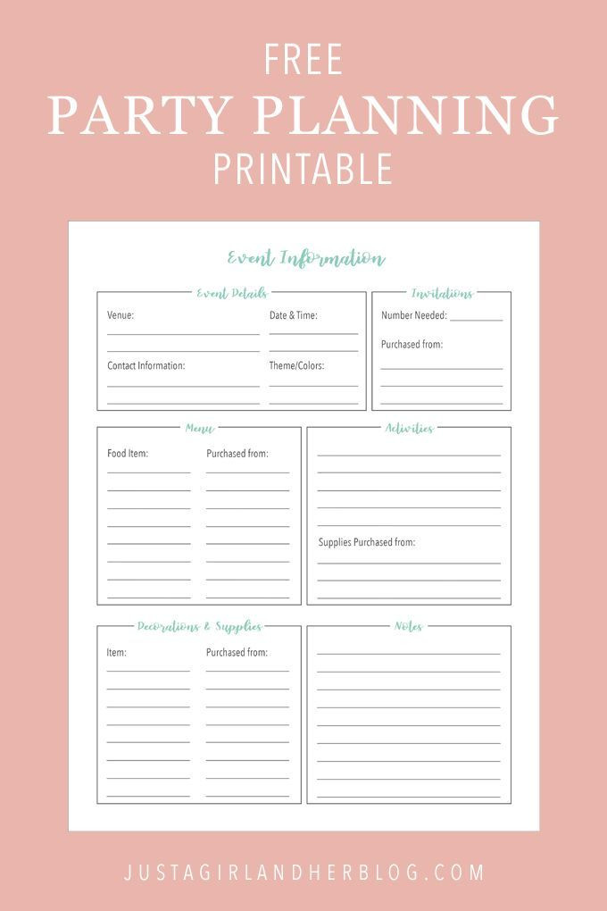 Party Planning Template Party Planning organized with Free Printables
