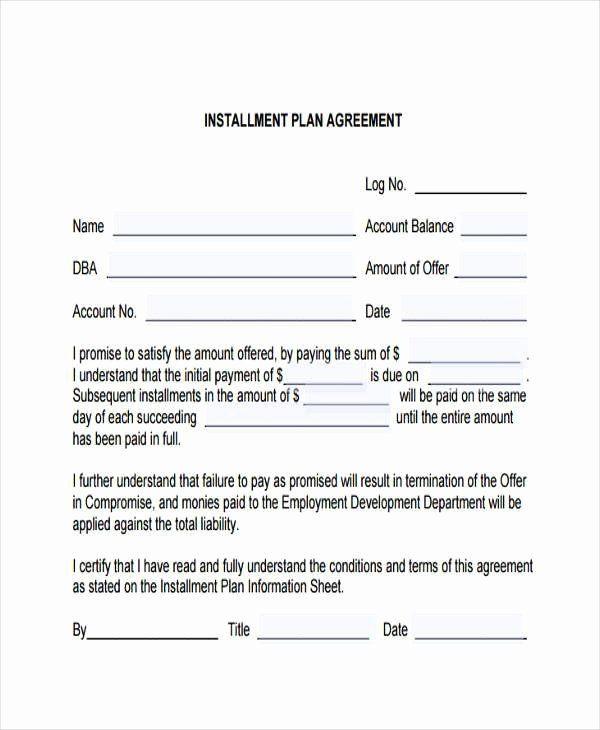 Payment Plan Template Word Installment Payment Plan Agreement Template Beautiful 7