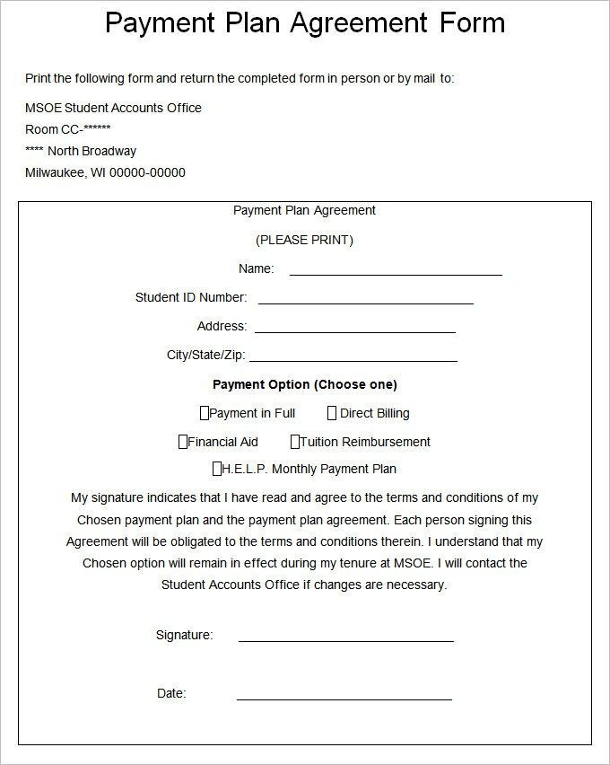 Payment Plan Template Word Payment Plan Agreement 5613