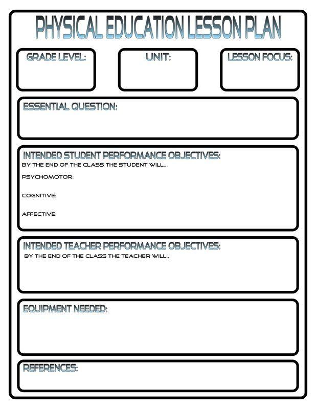 Pe Lesson Plan Template Blank Lesson Plans