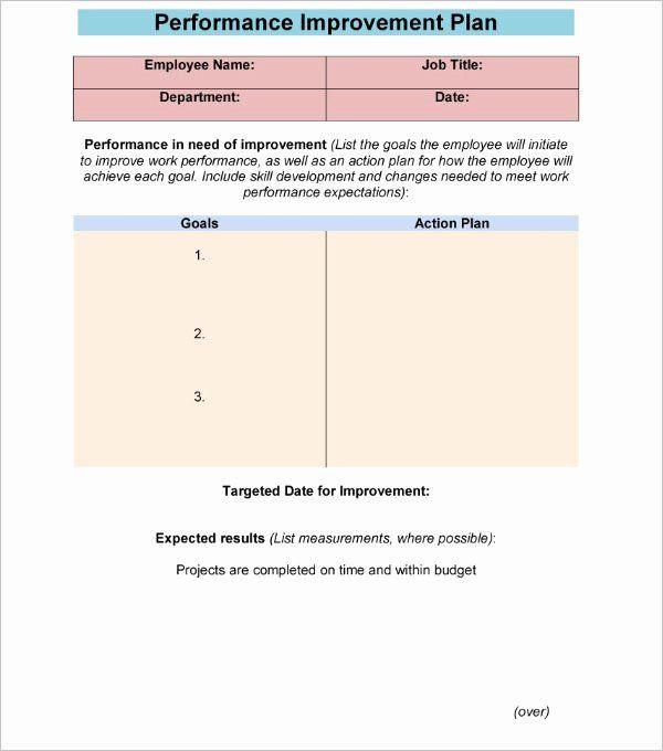 Performance Improvement Plan Template Word Performance Improvement Plan Template Excel Inspirational 42