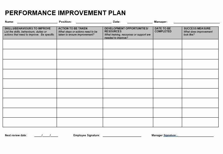 Performance Improvement Plan Template Word Performance Improvement Plan Template Word New Performance