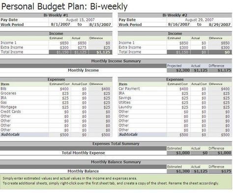 Personal Budget Planner Template Free Biweekly Bud Excel Template