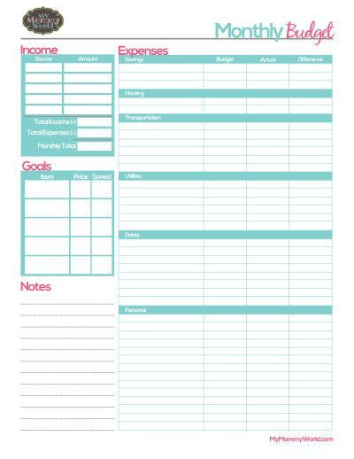 Personal Budget Planner Template Free Printable Household Bud form