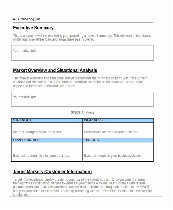 Personal Marketing Plan Template Personal Marketing Plan Sample New Free 43 Marketing Plan