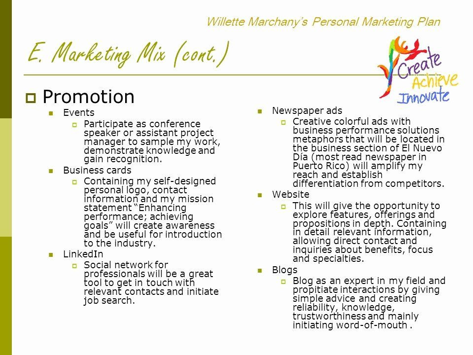 Personal Marketing Plan Template Personal Marketing Plan Template Best Willette Marchany S