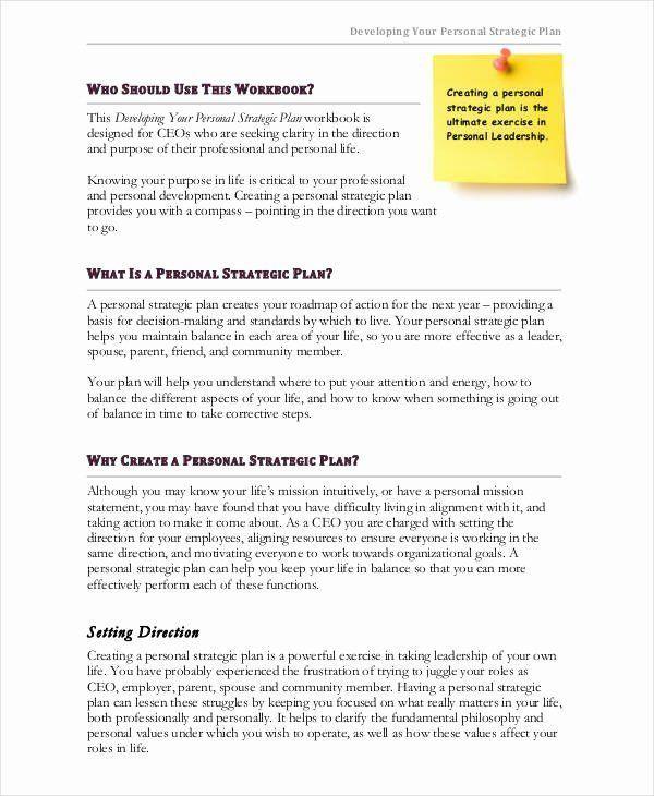 Personal Strategic Plan Template Personal Strategic Plan Template Awesome 55 Strategic Plan