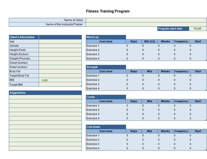 Personal Trainer Workout Plan Template Exercise Planner Excel Excerciseplanner