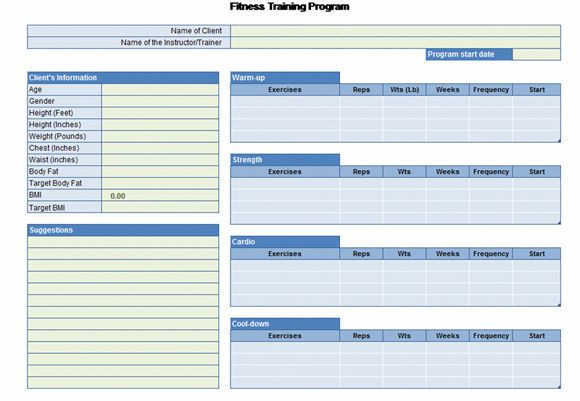 Personal Trainer Workout Plan Template Workout Chart for Excel Powerpoint Presentation