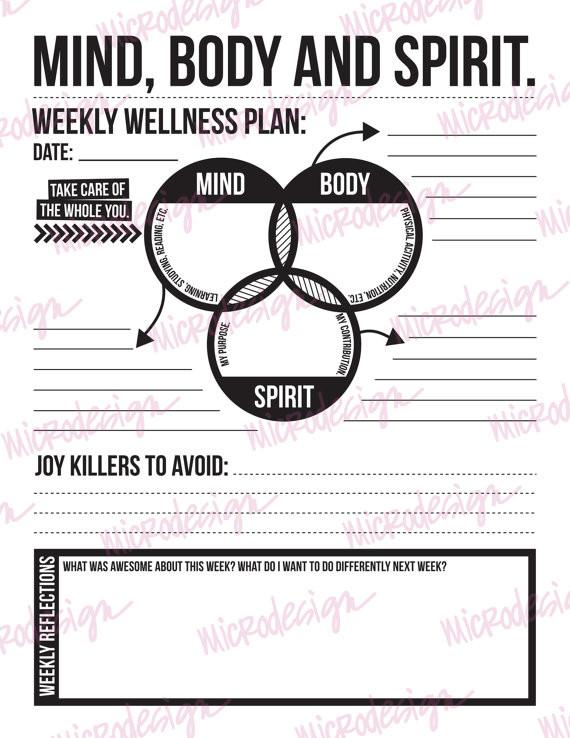 Personal Wellness Plan Template Mind Body Spirit Weekly Wellness Plan Able Goal