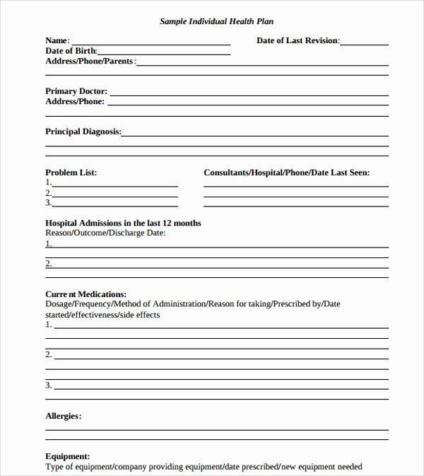 Personal Wellness Plan Template Personal Wellness Plan Template Fresh Individual Wellness