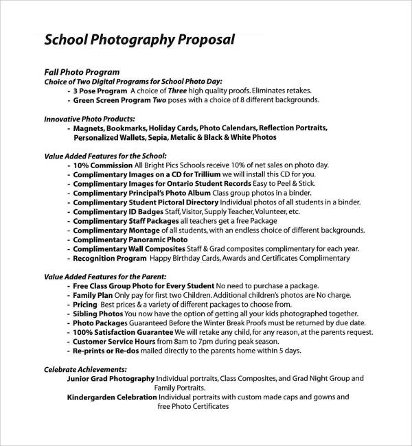 Photography Business Plan Template Sample Graphy Proposal Template 9 Free Documents In