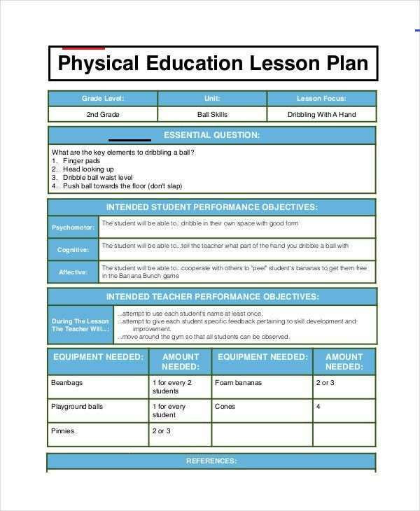Phys Ed Lesson Plan Template Physical Education Lesson Plan 2020 Physical Education