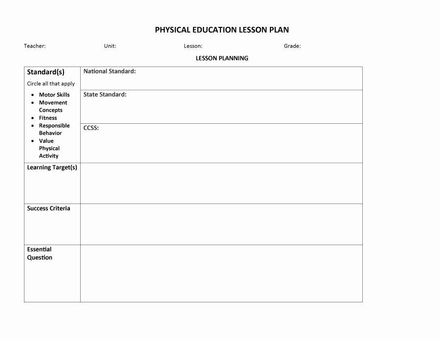 Phys Ed Lesson Plan Template Physical Education Lesson Plans Template Luxury 44 Free