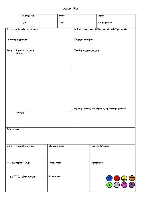 Physical Education Unit Plan Template Blank List Colouring Pages