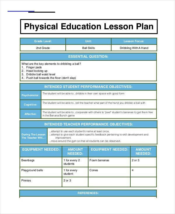 Physical Education Unit Plan Template Physical Education Lesson Plan 2020 Physical Education
