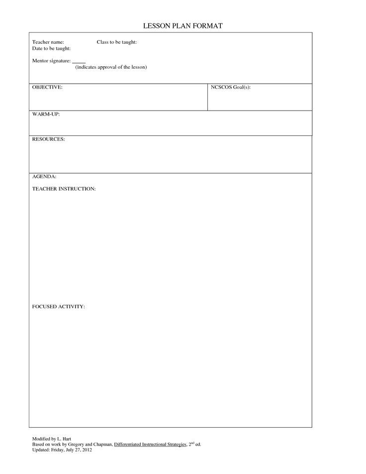 Piano Lesson Plan Template Lesson Plan Template Free