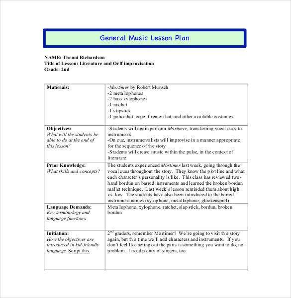 Piano Lesson Plan Template Lesson Plans Template Pdf Best 59 Lesson Plan Templates