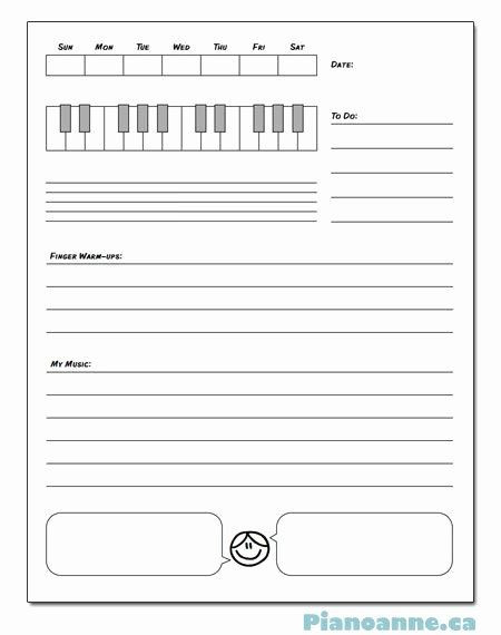 Piano Lesson Plan Template Piano Lesson Plan Template Awesome Piano assignment Sheet