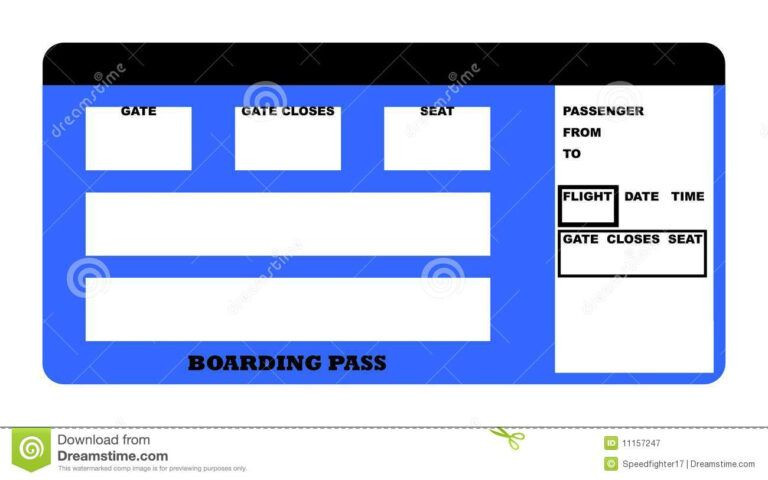 Plane Ticket Template Word Boarding Pass Stock Illustration Illustration Airline