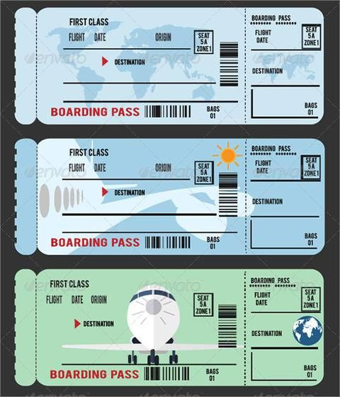 Plane Ticket Template Word Boarding Pass Template