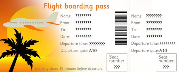 "Plane Ticket Template Word Editable Airline Tickets I Made This Into An ""el Al"" Ticket"