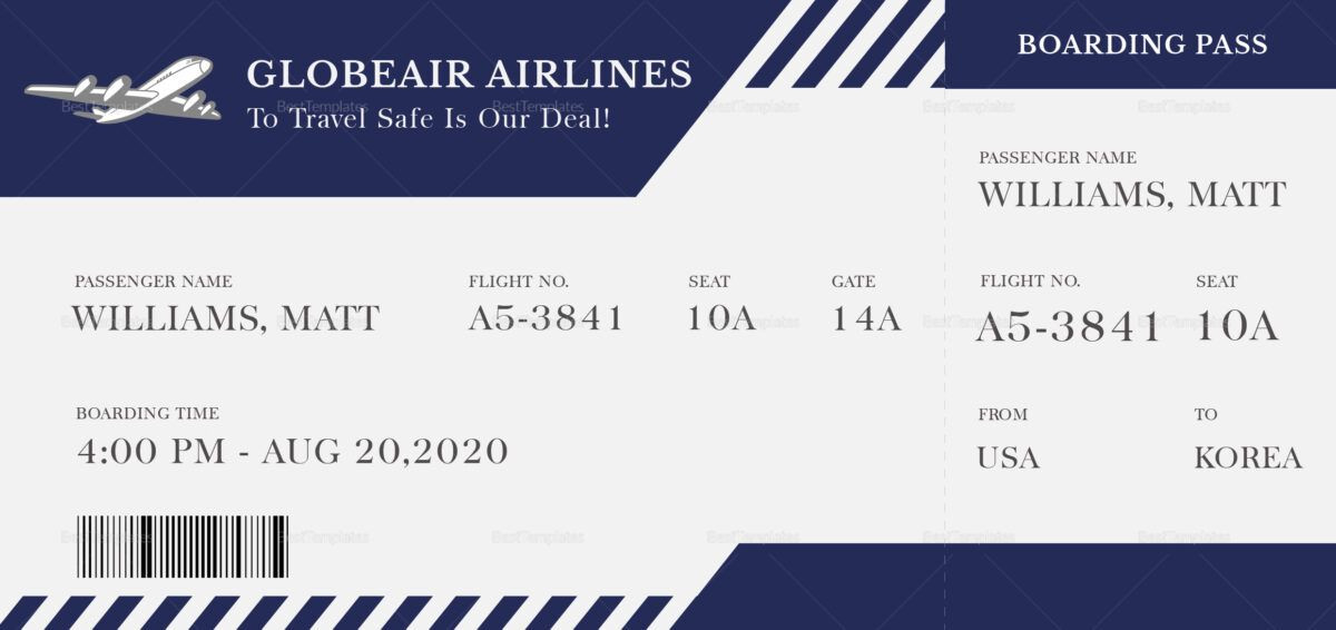 Plane Ticket Template Word Plane Boarding Ticket Template In Plane Ticket Template Word