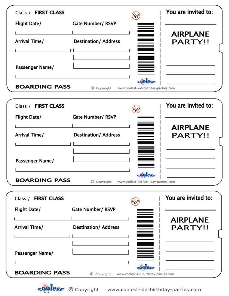 Plane Ticket Template Word Printable Airplane Boarding Pass Invitations