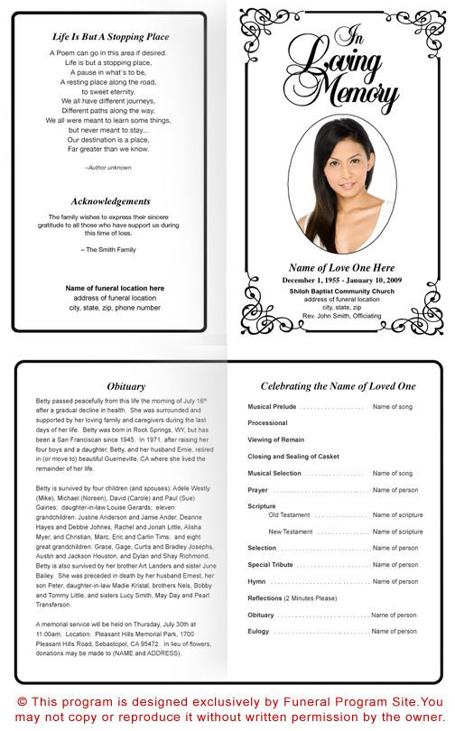 Planning A Funeral Service Template Frame Designs Cadence Preprinted Title Letter Single Fold