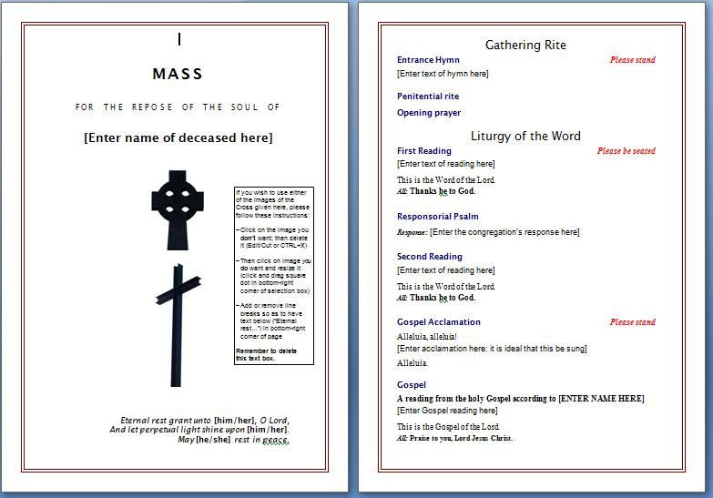 Planning A Funeral Service Template Free Funeral Program Template
