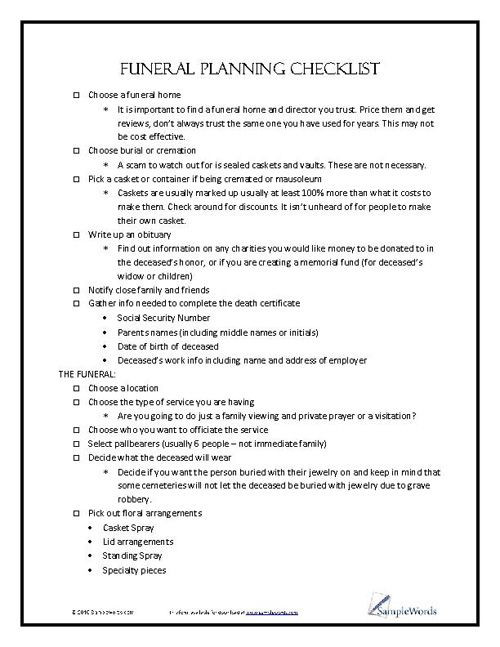Planning A Funeral Service Template Funeral Planning Checklist