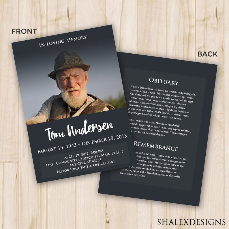 Planning A Funeral Service Template Funeral Program Template Funeral Card Memorial Program