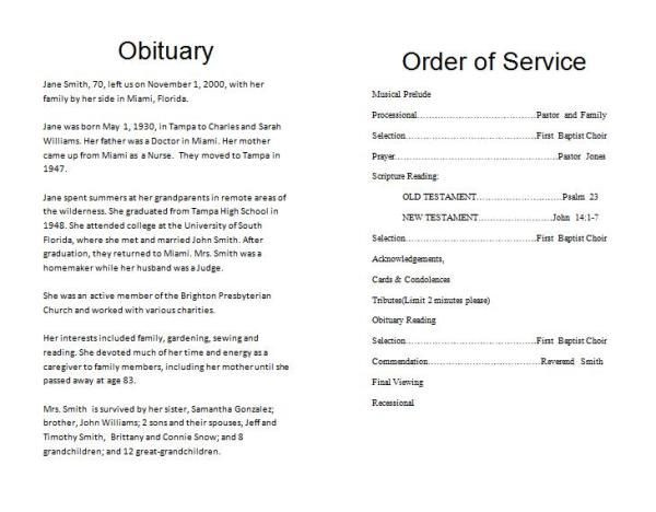 Planning A Funeral Service Template How to Make A Funeral Memorial Program – Template