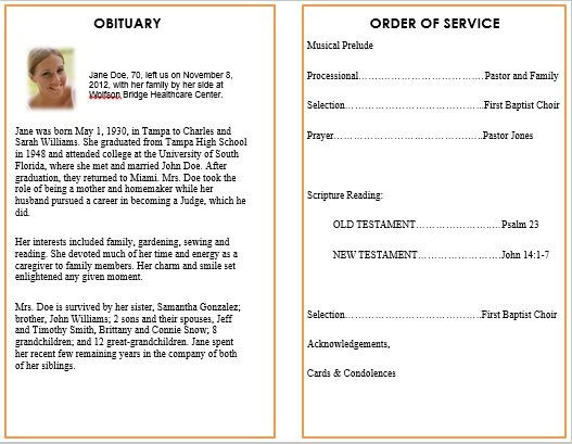 Planning A Funeral Service Template Ideas for Funeral Service Cards Programs – Examples