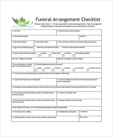 Planning A Funeral Service Template Sample Funeral Checklist Template 13 Documents In Pdf Psd