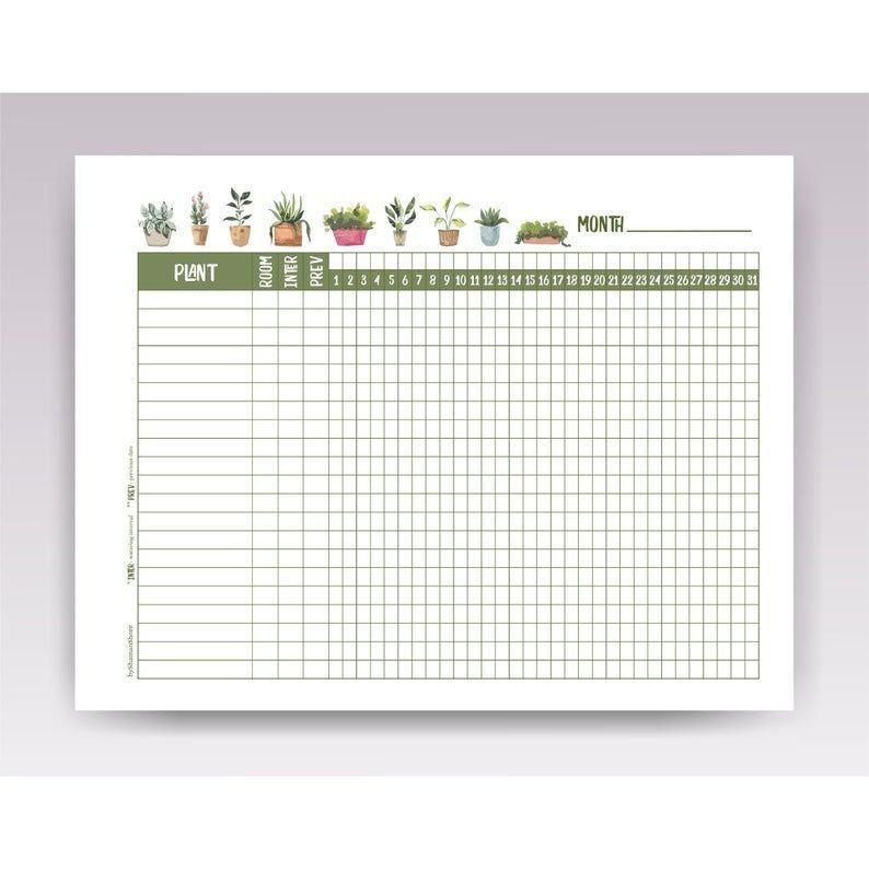 Plant Feeding Schedule Template Plant Watering Schedule Template Printable Plant Watering