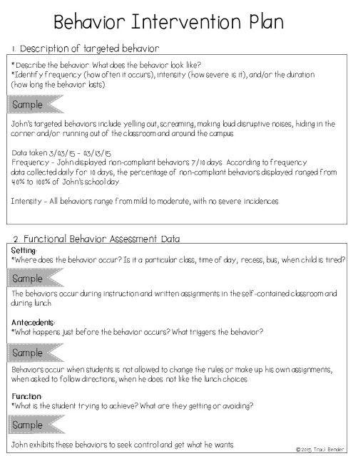 Positive Behavior Support Plan Template the Bender Bunch Creating A Behavior Intervention Plan Bip