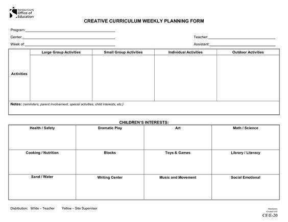 Prek Lesson Plan Template Creative Curriculum Lesson Plan Template Bing