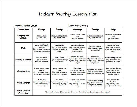 Preschool Lesson Plan Template Word 9 Free Pdf Word format Download