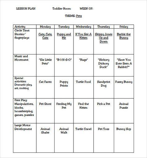 Preschool Lesson Plans Template Sample toddler Lesson Plan 8 Example format