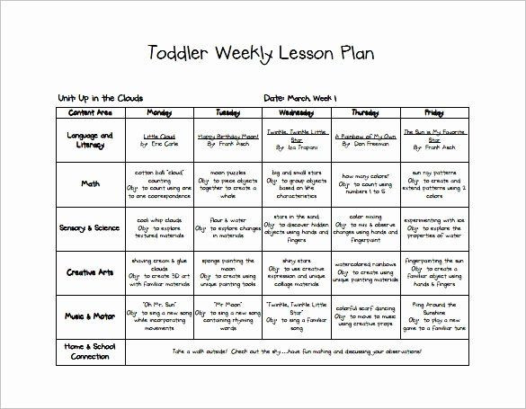 Preschool Monthly Lesson Plan Template toddler Lesson Plan Template Lovely Early Childhood Lesson