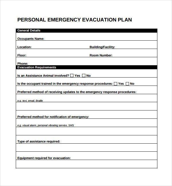 Printable Fire Escape Plan Template Personal Emergency Evacuation Plan Printable Template