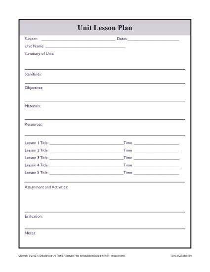 Printable Lesson Plan Template Plex Unit Lesson Plan Template