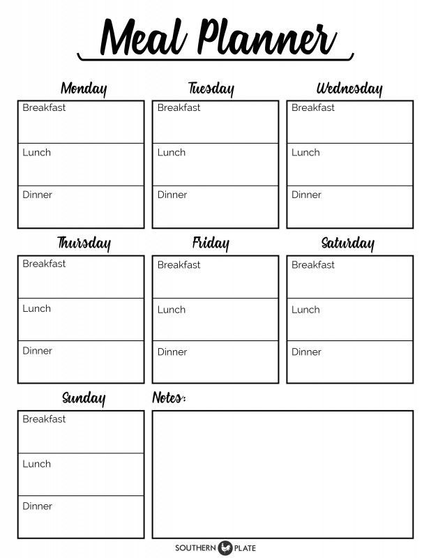 Printable Menu Planning Template I M Happy to Offer You This Free Printable Meal Planner