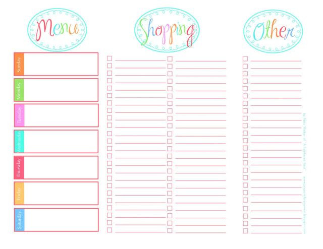 Printable Menu Planning Template Page Not Found Fab N Free