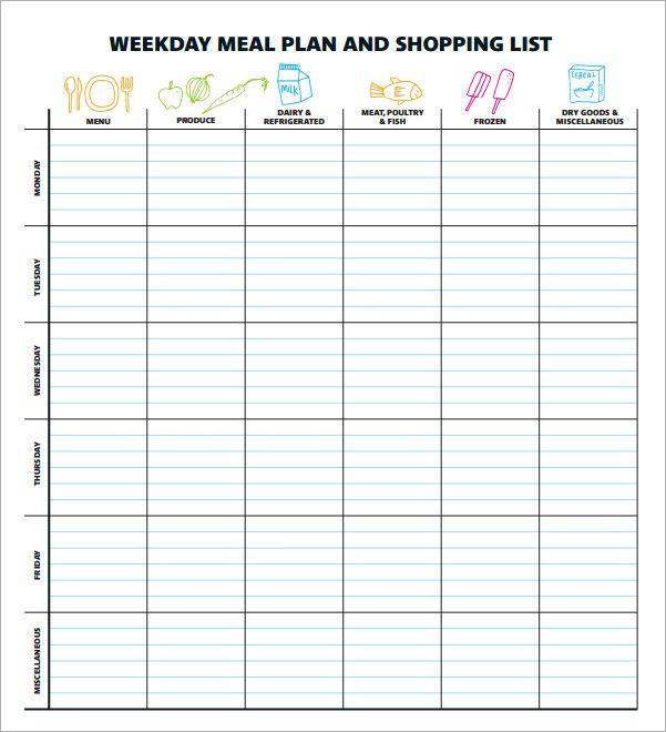 Printable Menu Planning Template Pin by Linda Stewart On Recipes