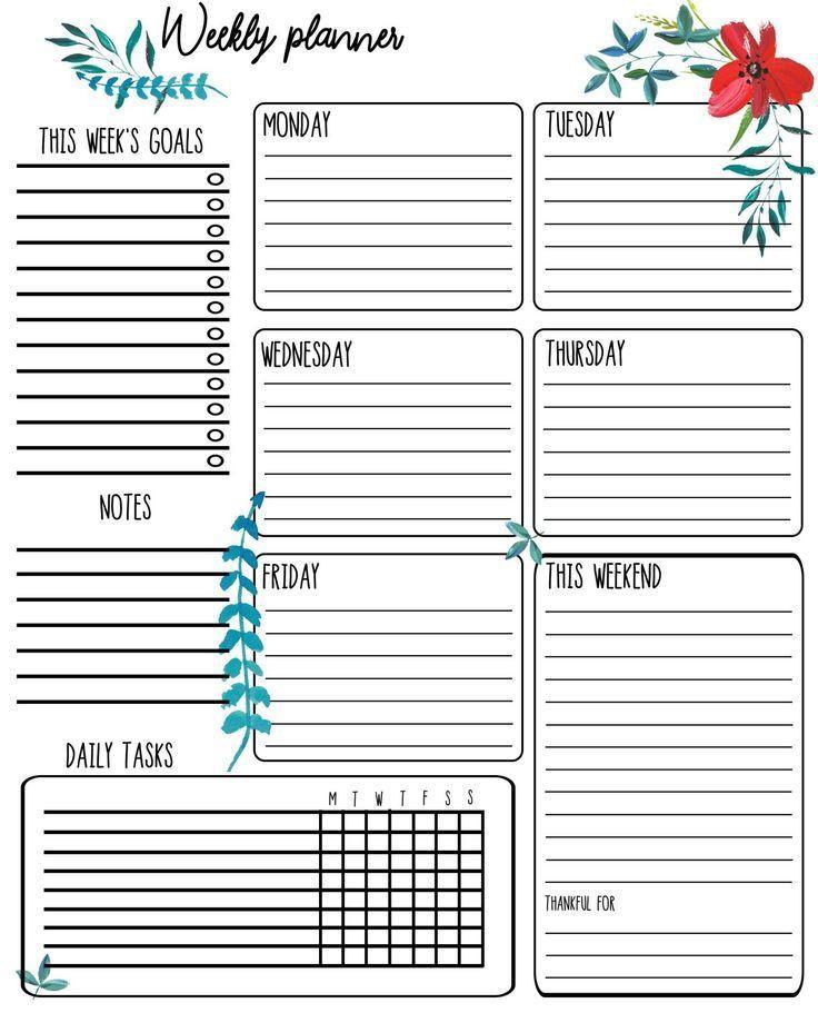 Printable Planner Template Free Printable Weekly Planner